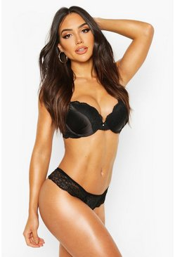 Womens Black Satin Super Push Up Bra