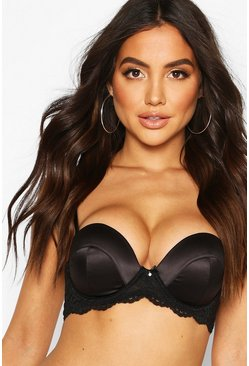 Womens Black Satin Super Push Up Balconette Bra