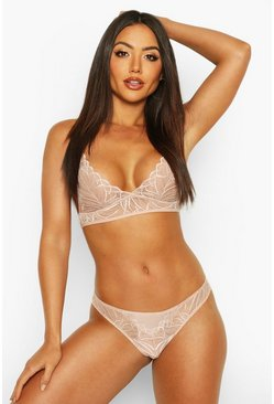 Womens Nude Scallop Edge Lace Lingerie Set