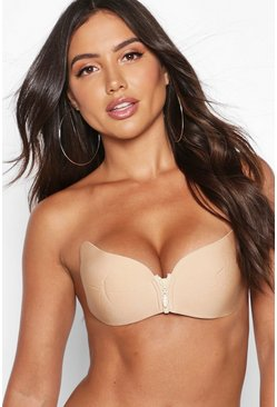 Womens Nude Zip Front Boosting Stick on Bra