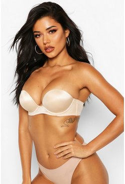 Womens Nude Super Push Up Strapless Bra