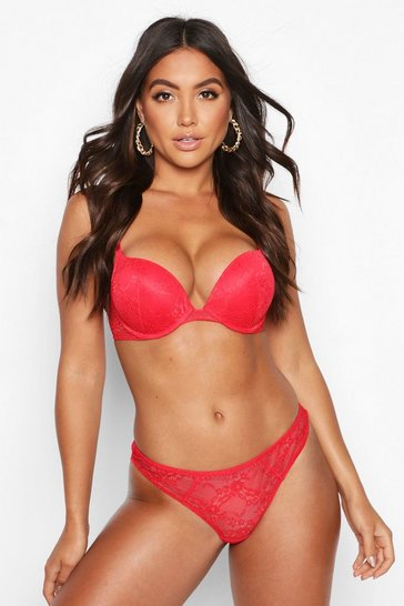 Red Mix & Match Lace Super Push Up Bra