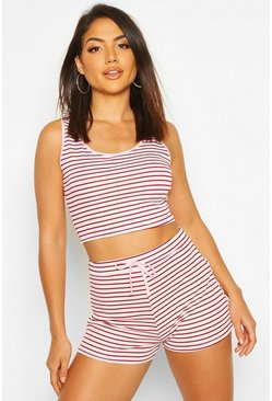Rib Stripe Lounge Set, Baby pink, Donna
