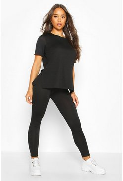 Womens Black Soft Short Sleeve Lounge Set