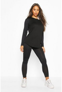 Womens Black Soft Long Sleeve Lounge Set