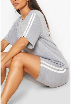 Soft Side Stripe Shorts Lounge Set, Grey, Donna