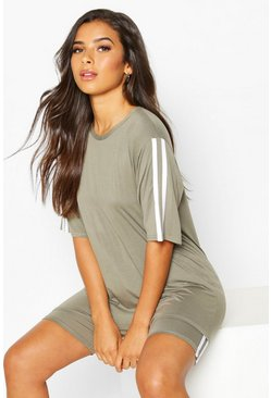 Khaki Soft Side Stripe Shorts Lounge Set