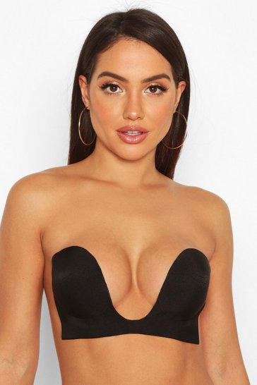 Womens Black Deep U Stick on Bra