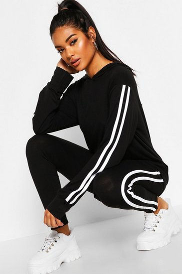 Womens Black Hooded Side Stripe Lounge Set