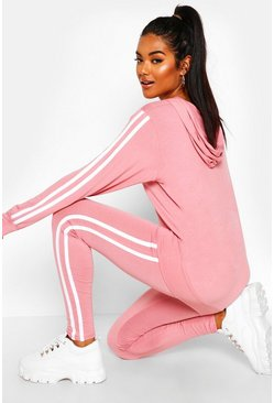 Hooded Side Stripe Lounge Set, Blush, FEMMES