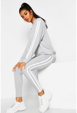 Womens Grey marl Hooded Side Stripe Lounge Set