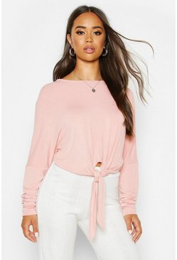 Womens Blush Mix & Match Knot Front Soft Lounge Top