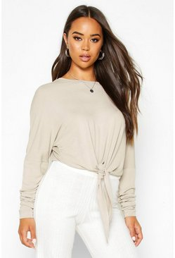 Stone Mix & Match Knot Front Soft Lounge Top