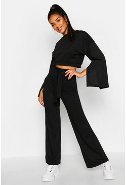 Split Sleeve Rip Lounge Set, Black, FEMMES