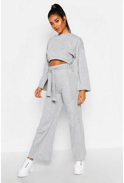 Womens Grey Split Sleeve Rip Lounge Set