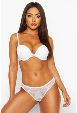 Womens White Mix & Match Lace Cheeky Brazilian
