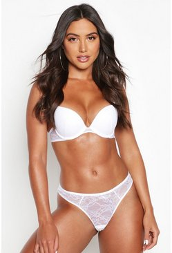 Womens White Mix & Match Lace Plunge Bra