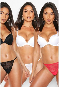 Womens White 3 Pack Lace String