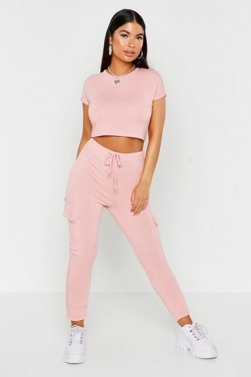 Womens Blush Side Pocket Soft Jogger