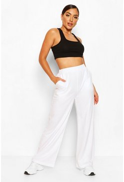 Womens White Loop Back Wide Leg Lounge Jogger