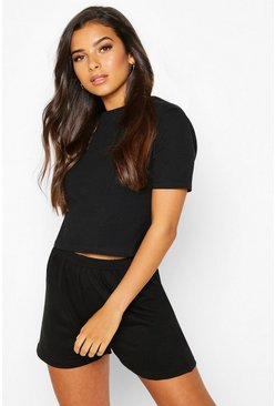 Womens Black Loopback Lounge Tee