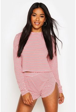 Womens Red Stripe Slouchy Lounge Set