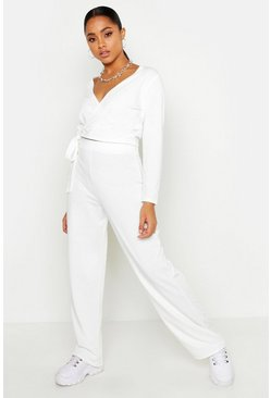Womens Ecru Wrap Top & Wide Leg Jogger Lounge Set