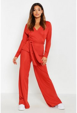 Womens Rust Rib Belted Lounge Set