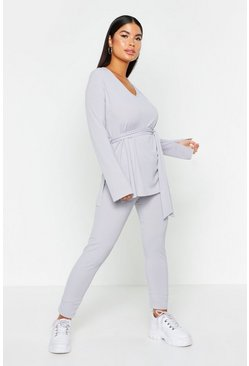 Womens Grey Rib Belted Legging Lounge Set