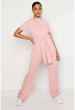 Womens Blush Tie Belt Short Sleeve Jumpsuit