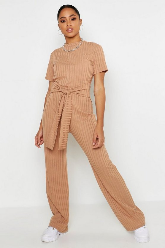 Womens Camel Tie Belt Short Sleeve Jumpsuit