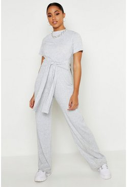 Womens Grey Tie Belt Short Sleeve Jumpsuit