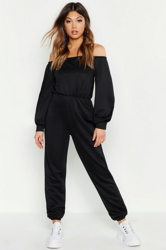 Black Bardot Lounge Jumpsuit
