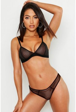 Womens Black Mix & Match Stripe Lace Thong