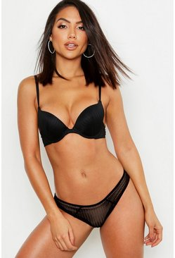 Womens Black Mix & Match Stripe Lace Cheeky Brazilian