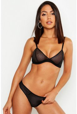 Womens Black Mix & Match Stripe Lace Bralet
