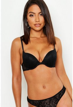 Womens Black Mix & Match Lace Plunge Bra
