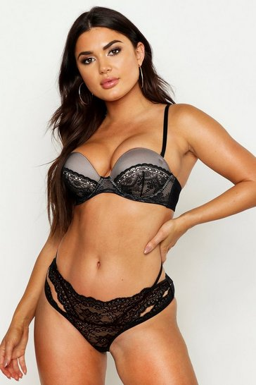 Womens Black Contrast Lace Super Push Up Strapless Bra