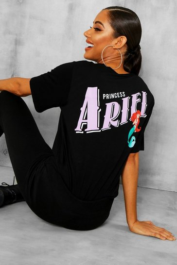 Womens Black Disney Ariel Licence T-Shirt & Jogger Set