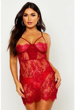 Womens Wine Strapping Lace Chemise