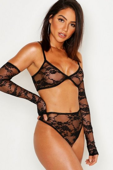 Womens Black Lace Bralet Knickers & Gloves Set