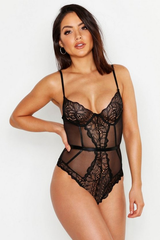 Womens Black Guipure Lace Bodysuit
