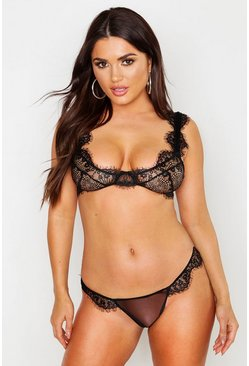 Womens Black Eyelash Lace Underwired Bra & Thong Set