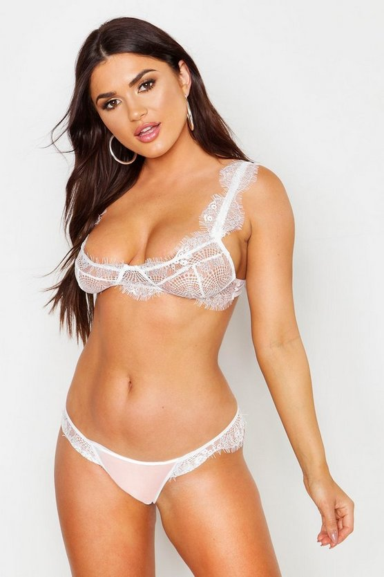 Womens White Eyelash Lace Underwired Bra & Thong Set