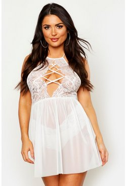 Womens Ivory Cross Front Babydoll