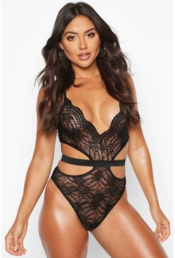 Womens Black Cross Front Halter Body