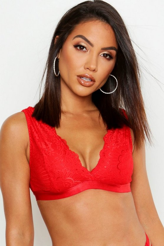 Womens Red Lace Fuller Bust Bralet