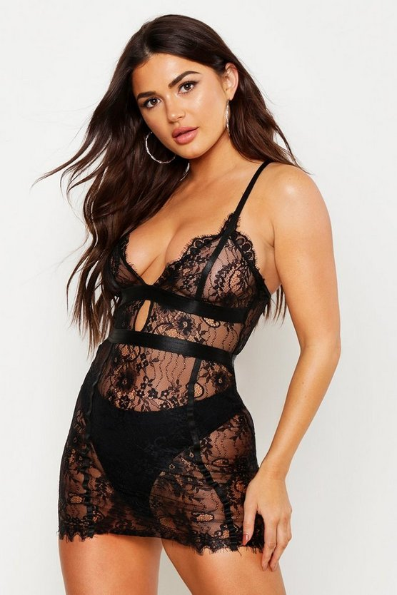Womens Black Eyelash Lace Chemise