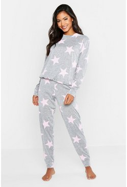 Womens Grey Star Print Sweat & Jogger Set