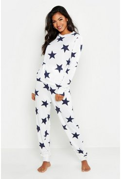 Womens Ecru Star Print Sweat & Jogger Set